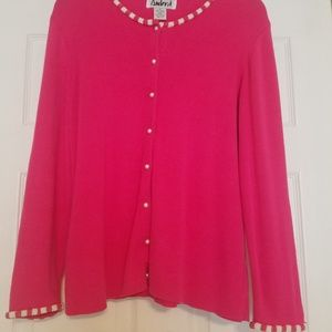 Ambra Pink Sweater XL pearl accents and buttons